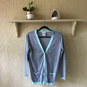 LACOSTE Grey & Turquoise Cardigan